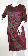 Marimekko SAMU-JUSSI KOSKI Cotton Twill Belted Magenta & Olive Dress, Size 38