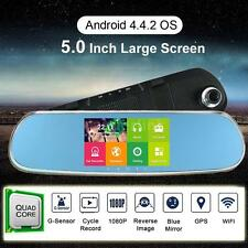 "5"" HD Android 4.4 GPS Nav Auto Car Rearview Mirror DVR Camera WIFI Free Map C5X7"