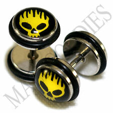 0167 Fake Cheater Faux Illusion 16G  Plugs 0G 8mm Fiery Ghost Flames Fire Skull