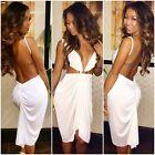 Women Bodycon V-Neck Backless Evening Sexy Party Cocktail MINI Club Dress 6-12