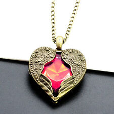 Women Vintage Angel Wings Heart Crystal Pendant Long Chain Necklace Fashion
