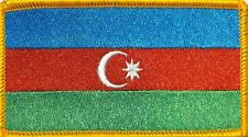 Azerbaijan Flag Iron-On Morale Tactical ARMY Patch Gold Border #09