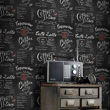 COFFEE SHOP BLACKBOARD WALLPAPER - RASCH 234602 RETRO