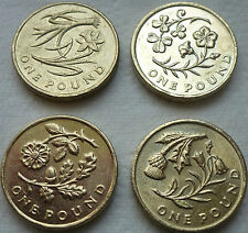 FULL SET OF FOUR £1 ONE POUND UK FLOWER COINS HUNT WELSH IRISH ENGLISH SCOTTISH@