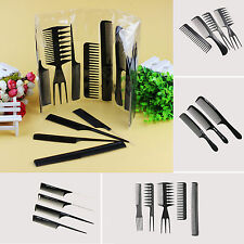 10Pcs/Set Black Plastic Pro Salon Hair Styling Hairdressing Barbers Brush Combs