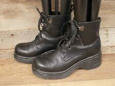WOMENS SKECHERS LEATHER PLATFORM / CHUNKY ANKLE BOOTS SZ 6.5