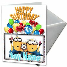 MINIONS - Personalised Birthday Card Daughter, Son, Niece, Friend, Nephew