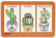 SWAP CARD. CACTUS PLANTS IN POTS ILLUSTRATION. SAGUARA, BARREL & PRICKLY PEAR.