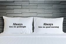 Couples Always Kiss Me Goodnight Pillowcases Pillow Cover Bedroom Bedding WSD780