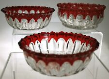 EAPG - THE PRIZE by McKee Glass - Berry Bowls (3) - Ruby Stain