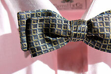 Bow Tie Club Square-End Self-Tie Silk Bow Tie USA - Midnight Blue & Gold Squares