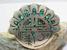 Vintage 70s Navajo Turquoise Chip Inlay SS 925 Cuff Bracelet  Pictograph Signed