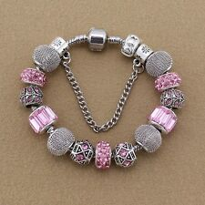 BEAUTIFUL PINK & SILVER CHARM BRACELET WITH PINK CRYSTAL CHARMS CLIP & CHAIN