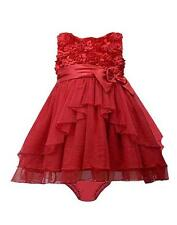 New Girls Bonnie Jean sz 24m Red Bonaz Satin Bow Ruffle Dress Christmas Holiday