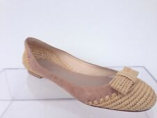 Delman Bandy Flat Size Bow Natural-Almond Size 9 New!! $345