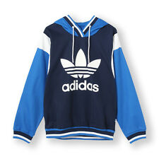 SIZE 8 EXTRA-SMALL ADIDAS ORIGINALS ARCHIVE TREFOIL LOGO UNISEX HOODED TOP BLUE