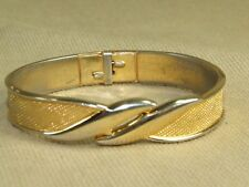 Vintage 80s Monet Gold Tone Mesh Pattern Hinge Bangle Bracelet 6.5""