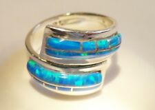LOVELY BLUE FIRE OPAL Sterling Silver 925 LADIES Wrap Band Ring!! 7 to 7.5