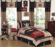 Unique Discount Red Black Pirate Kid Twin Bedding Set for Boy Sweet Jojo Designs