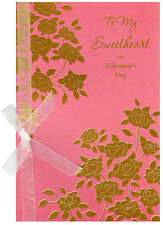 Gold Foill Flowers on Pink: Sweetheart Valentine's Day Card by Freedom Greetings
