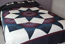 New Amish Quilt Handmade Patchwork, Lancaster Pa. Mariners Broken Star 101x114