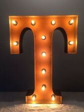 "New Rustic Metal Letter T Light Marquee: Sign Wall Decoration 24"" Vintage"