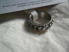Unisex Curb Chain Stress Relief band Ring 7mm wide silver 316l ss UK P