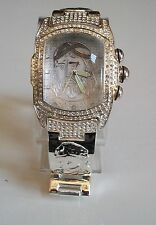 Designer Jesus dial Geneva bracelet silver finish oversized fashion men watch