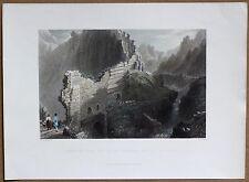 1836 Bartlett print PART OF ANTIOCH WALLS OVER RAVINE, ANTAKYA; TURKEY (#30)