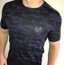 EA7 Armani Mens t-shirt Top BNWT New Black/Blue Camo size Large