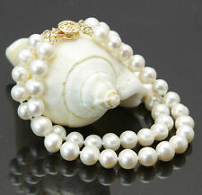 """Fashion 2Rows 7-8mm Natural White Akoya Cultured Pearl Beaded Bracelet 7.5"""""""