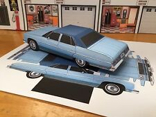 Papercraft Chevrolet Caprice 4 door sedan PaperCar EZU-build 1975 Toy Model Car