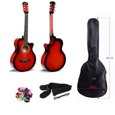 "Red 3/4 Saiz 38"" Acoustic Classic Guitar For Beginners Student Adults 6 String"