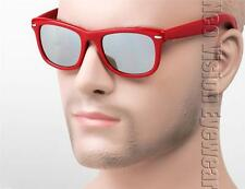 Hipster Vintage Style Wayfarer Sunglasses Retro 80s Silver Mirror Red 1RD