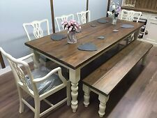 LARGE FARMHOUSE TABLE Shabby Chic RUSTIC Painted OAK PINE 5 Chairs and Bench