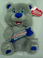 "Nestle GRAY TEDDY BEAR W/ BABY RUTH CANDY BAR 9"" Plush STUFFED ANIMAL Toy NEW"