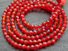 "2.1mm MICRO FACETED CARNELIAN ROUNDS, 13"", 160 beads"