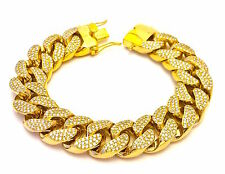 Mens Iced Out Gold CZ 18mm Miami Cuban Link Chain Thick Heavy Bracelet Box Clasp