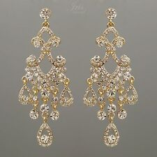 18K Gold Plated GP Clear Crystal Wedding Drop Dangle Chandelier Earrings 00165