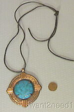 60s vtg signed Bell Trading Post COPPER & FAUX TURQUOISE BIG MEDALLION PENDANT