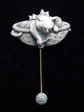 """JJ"" Jonette Jewelry Silver Pewter 'CAT in Yarn Basket' Pin"