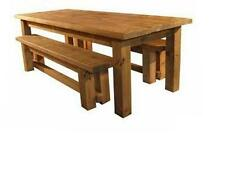 NEW SOLID WOODEN DINING TABLE AND BENCHES CHUNKY RUSTIC PLANK PINE FURNITURE