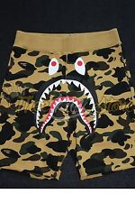 A BATHING APE BAPE Men's 1ST YELLOW CAMO SHARK SWEAT SHORTS Pants New Size Large