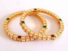 MUGHAL ERA STYLE CHOKI AD STONE BANGLE-ANTIQUE GOLD PLATED MEENAKARI BANGLE