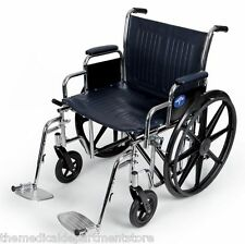 """Medline Excel Extra-Wide Wheelchair MDS806900 24"""" Seat 500 lbs capacity"""