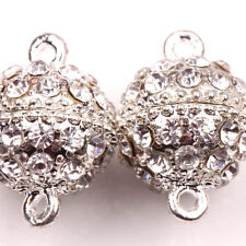 5/10Sets Crystal Rhinestone Round Ball Strong Magnetic Clasps Finding19x13MM