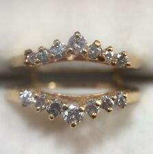 14k Yellow Gold 1/2 Ct Diamond Jacket Guard Enhancer Wrap Wedding Band Ring 7