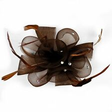 Fascinator Ansteckblume Blume Federn Strass Haarschmuck BRAUN Haarclip Brosche