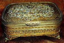 Antique VTG Circa 1800's GOLD Gilt Gilded Ornate Footed Jewelry Trinket Box NICE