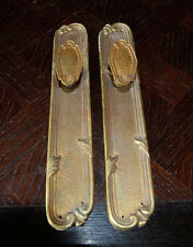 Antique Pair French Door Knobs Backplates Handle Set Brass Ormolu